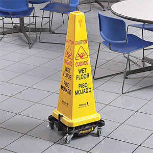 Wet Floor Sign with cordless floor dryer